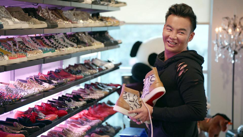Kane Lim and his shoe collection in Bling Empire on Netflix. (Photo: Netflix)