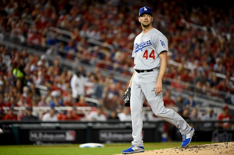 WASHINGTON, DC - OCTOBER 07: Rich Hill #44 of the Los Angeles Dodgers looks on against the Washington Nationals in Game Four of the National League Division Series at Nationals Park on October 7, 2019 in Washington, DC. (Photo by Will Newton/Getty Images)
