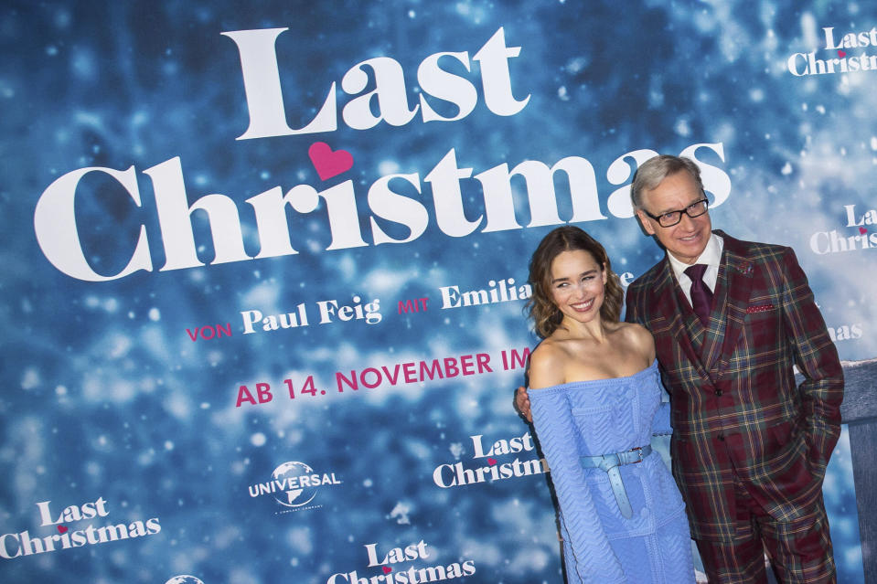 Photo by: KGC-324-RC/STAR MAX/IPx 2019 10/22/19 Emilia Clarke looks radiant in a pale blue co-ord as she hits the red carpet alongside US director Paul Feig for Last Christmas photocall at the UCI Luxe Cinema in Berlin. She chose a cosy Christmas-themed ensemble for the red carpet event, cinching in her tiny waist with a matching belt. Accessorising the blue two piece with a pair of nude heels she posed with one hand on her hip. Her long-sleeved top featured buttons down the front and a diagonal ruched pattern was visible in the fabric. The matching skirt reached the actress' ankles and offered a stylish slit down the front. She styled her brunette tresses in short curls and added a dazzling red lip.