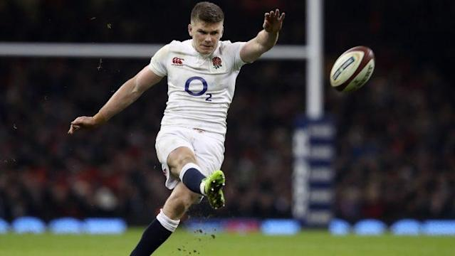 CARDIFF, WALES – FEBRUARY 11: Owen Farrell of England kicks at goal during the RBS Six Nations match between Wales and England at the Principality Stadium on February 11, 2017 in Cardiff, Wales. (Photo by David Rogers/Getty Images)
