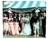 <p>Marlo Brando (second from left of bride) poses in character with the rest of the Corleone family while filming the movie's iconic wedding scene.</p>
