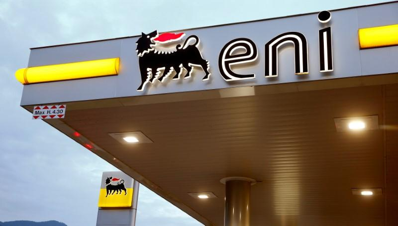 The logo of Italian energy company Eni is seen at an Agip gas station in Lugano