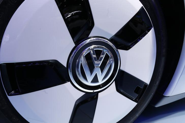 The VolksWagen logo is seen on their XL 1 car during the media day at the Paris Mondial de l'Automobile