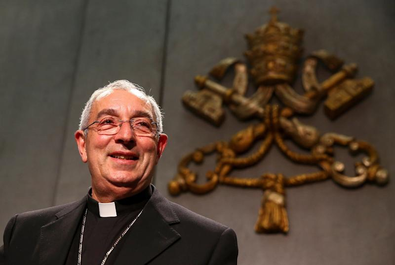 Archbishop Angelo De Donatis, vicar general of Rome, presents the latest apostolic exhortation at the Vatican on April 9, 2018.