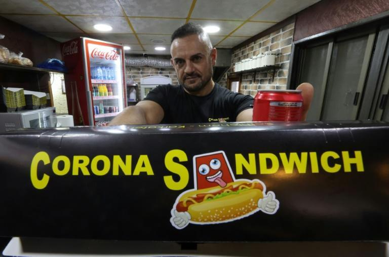"""Raed Bannura says the idea of setting up a snack bar named the """"Corona Sandwich"""" struck him when he woke up one morning"""