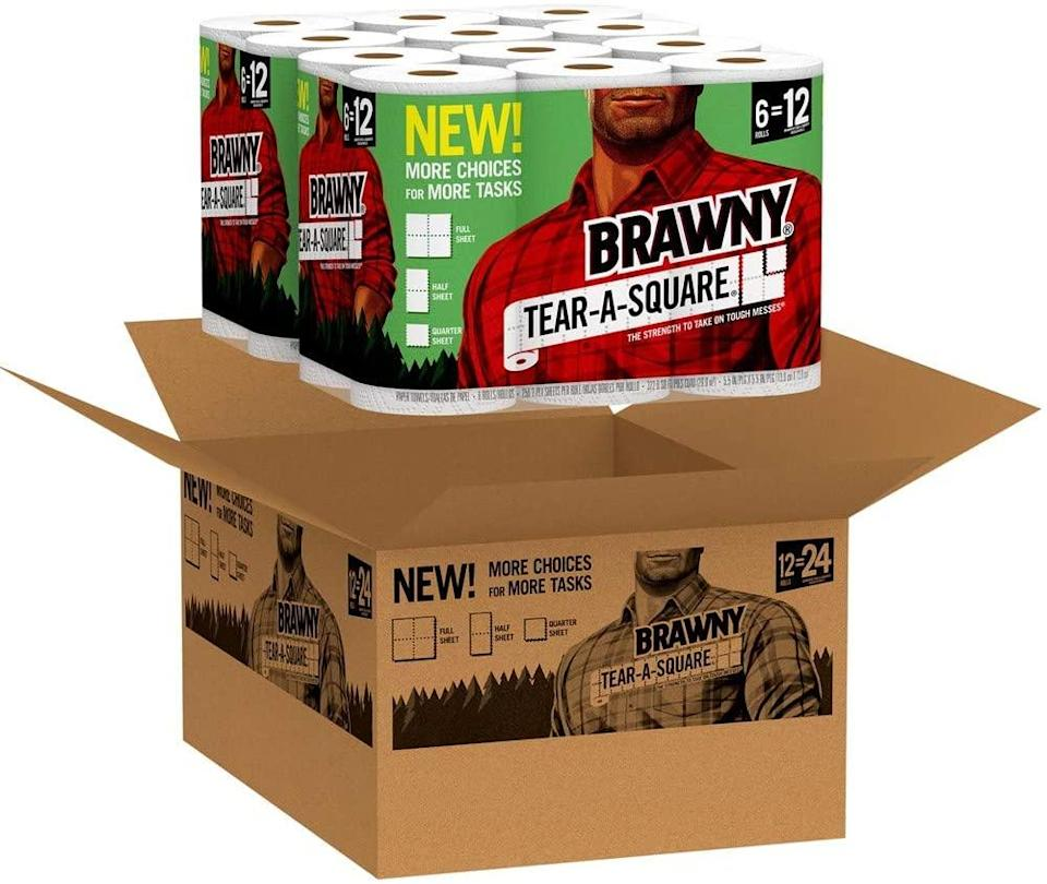"""<h2>Brawny Tear-a-Square Paper Towels</h2><br><strong>What are they?</strong> Paper towels ingeniously perforated into quarters for more economical use<br><br><strong>What's the hottest take?</strong> Reviewer Tasha L. Driver writes: """"My 76-year-old father was visiting from out of town and went to grab a piece of paper towel from the holder. Now, he already uses the pick-a-size variety at his home, so you'd think that tear-a-square wouldn't be a huge stretch, right?<br><br>Wrong.<br><br>He was baffled. Baffled, I tell you! 'What on Earth is this new-fangled contraption? What would you need such a tiny piece for?'<br>So, I rattled off their many uses: dinner napkins, coasters, polishing silverware, purse napkins (the ladies know what I'm talking about), homemade wet wipes to keep in your purse, make-up remover towelettes, something to blow your nose with when you're out of Kleenex but don't want to waste a whole paper towel, and so, so much more.<br><br>What did he do after that explanation? He grabbed thirty sheets and stalked off calling me a crazy millennial. For the record, I'm forty, but I don't think the Boomers care anymore.""""<br><br><strong>Brawny</strong> Tear-A-Square Paper Towels (12 Rolls), $, available at <a href=""""https://amzn.to/3opve3H"""" rel=""""nofollow noopener"""" target=""""_blank"""" data-ylk=""""slk:Amazon"""" class=""""link rapid-noclick-resp"""">Amazon</a>"""