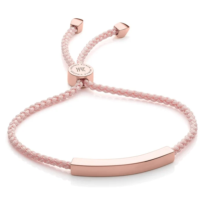 Linear Friendship Bracelet in Ballet Pink. Image via Monica Vinader.
