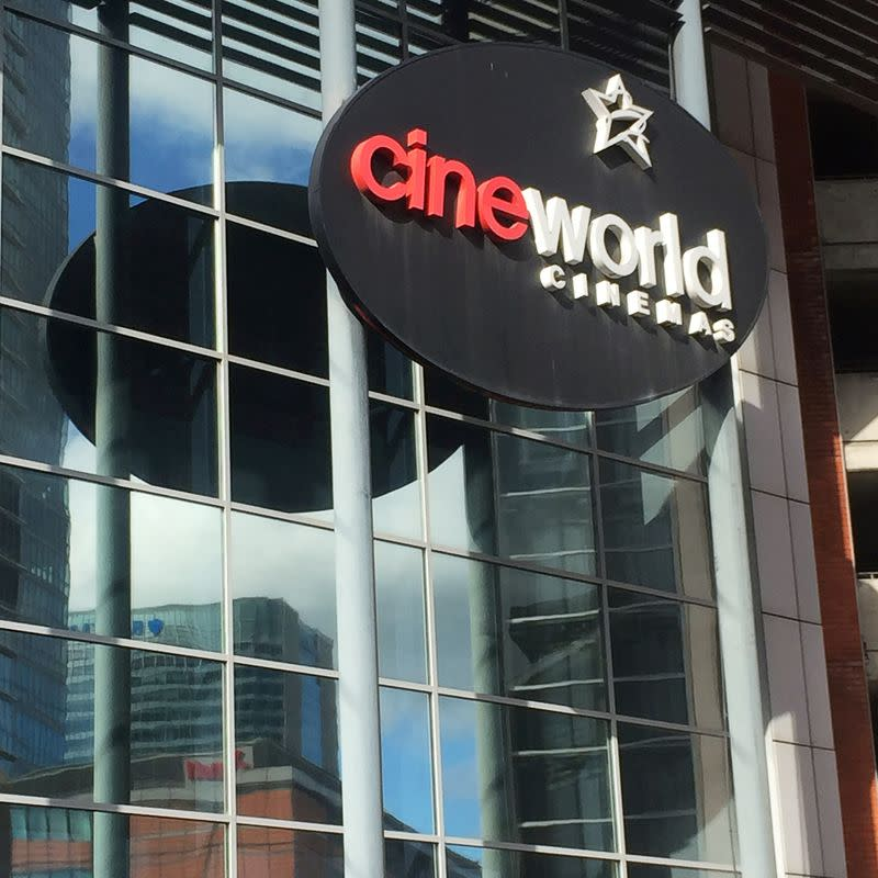FILE PHOTO: A Cineworld cinema logo is pictured in Canary Wharf in London