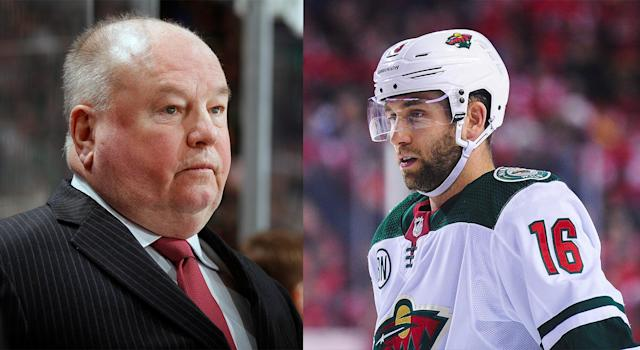 After his postgame comments on Thursday blew up online, Jason Zucker of the Minnesota Wild is sorry for unintentionally singling out his head coach Bruce Boudreau. (Getty Images)
