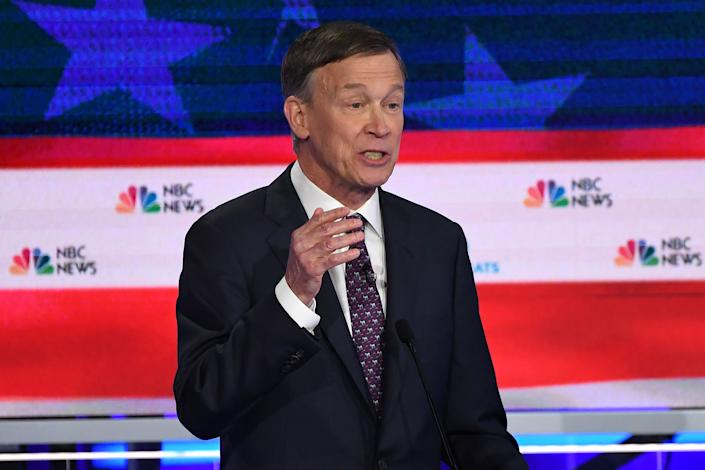 Democratic presidential hopeful former Governor of Colorado John Hickenlooper speaks during the second Democratic primary debate of the 2020 presidential campaign season hosted by NBC News at the Adrienne Arsht Center for the Performing Arts in Miami, Florida, June 27, 2019.   Saul Loeb—AFP/Getty Images