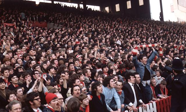 Liverpool fans on the terraces at th 1971 FA Cup semi-final against Everton.