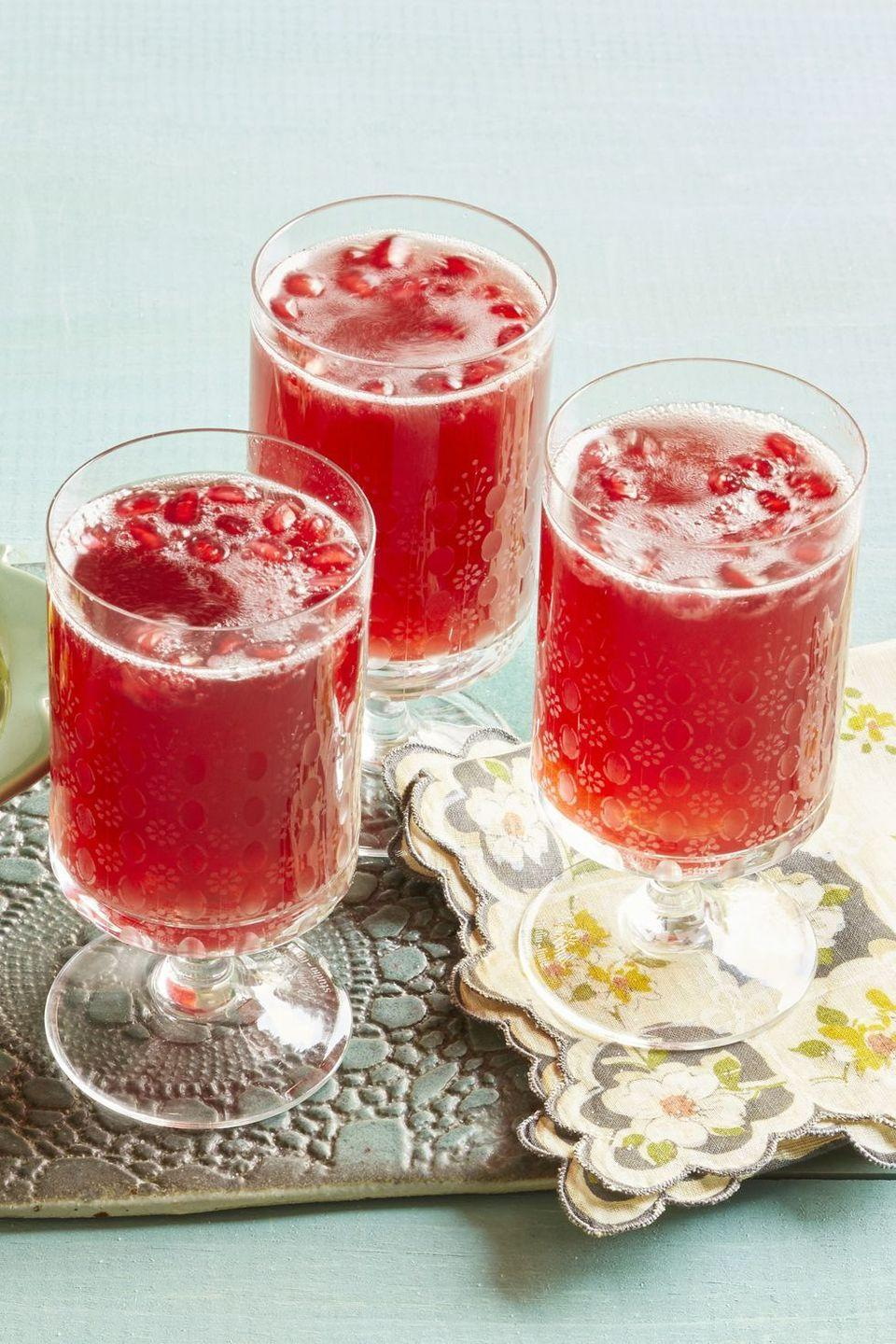 """<p>This sparkling wine cocktail only has three ingredients, so it's a super simple way to impress your guests. </p><p><em><strong>Get the recipe at <a href=""""https://www.thepioneerwoman.com/food-cooking/recipes/a32304789/pomegranate-sparklers-recipe/"""" rel=""""nofollow noopener"""" target=""""_blank"""" data-ylk=""""slk:The Pioneer Woman."""" class=""""link rapid-noclick-resp"""">The Pioneer Woman.</a></strong></em></p>"""