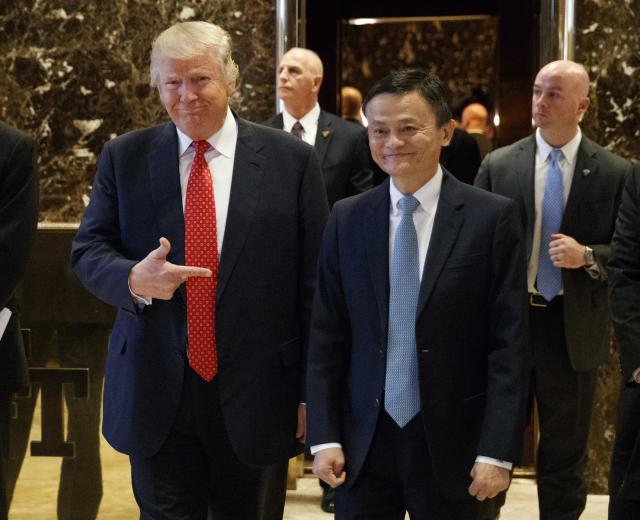 In Jan. 2017 photo, Alibaba Executive Chairman Jack Ma promised to then President-elect Donald Trump that he would create 1 million jobs in the U.S. Will this deliver? (AP Photo/Evan Vucci)