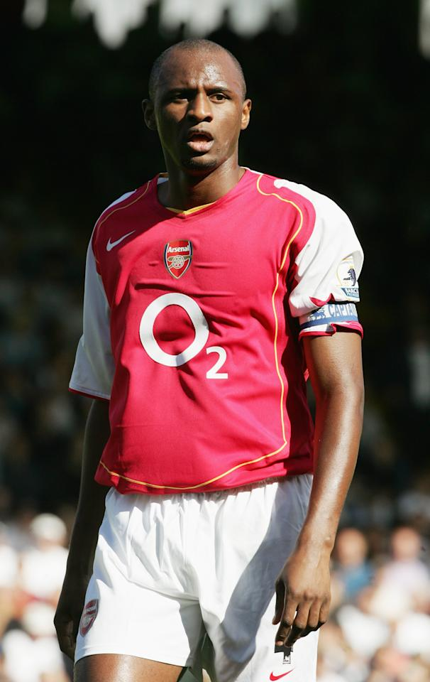 LONDON - SEPTEMBER 11:  Patrick Vieira of Arsenal in action during the Barclays Premiership match between Fulham and Arsenal at Craven Cottage on September 11, 2004 in London.  (Photo by Phil Cole/Getty Images)