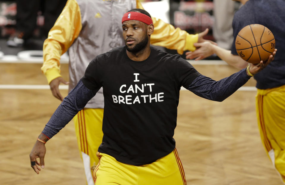 """LeBron James wore an """"I Can't Breathe"""" shirt after the death of Eric Garner. (AP Photo/Frank Franklin II, File)"""