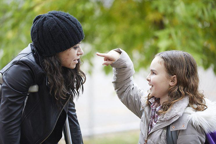 Tatiana Maslany as Sarah Manning and Skyler Wexler as Kira in BBC America's Orphan Black. (Photo Credit: Ken Woroner/BBC America)