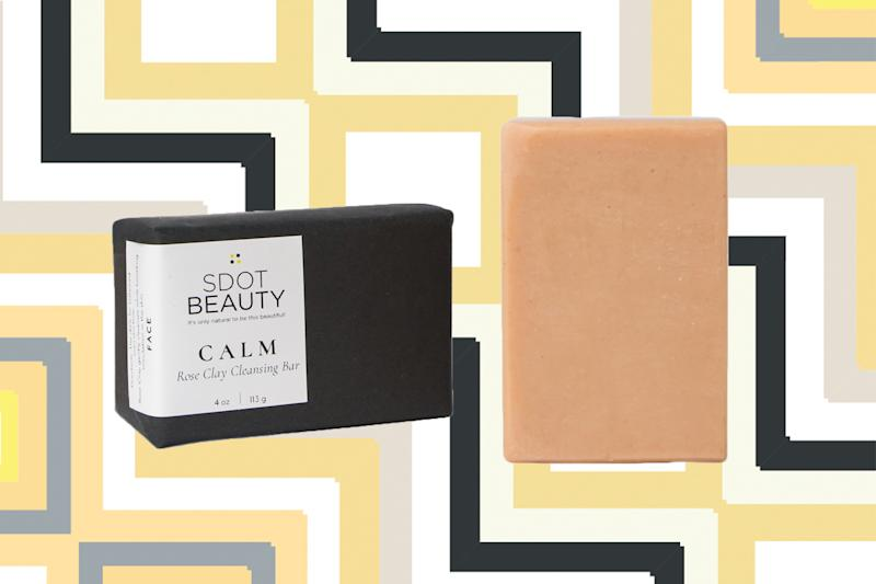 SDot Beauty CALM Rose Clay Cleansing Bar. (Photos: Kelsey Rose; Getty Images; Art: Casey Hollister for Yahoo Lifestyle)