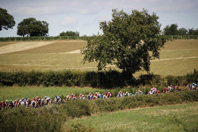 The pack rides during the tenth stage of the Tour de France cycling race over 217 kilometers (135 miles) with start in Saint-Flour and finish in Albi, France, Monday, July 15, 2019. (AP Photo/ Christophe Ena)