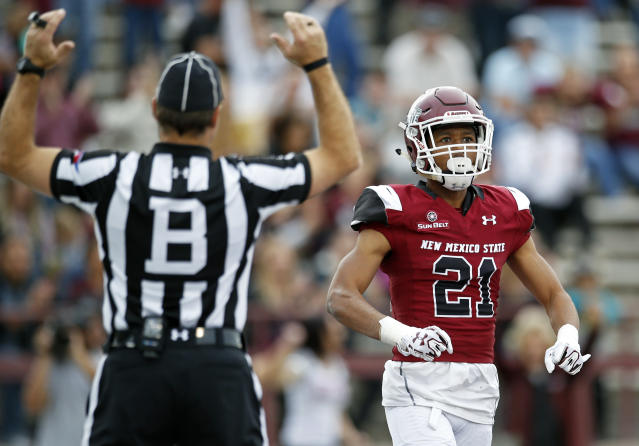 New Mexico State wide receiver Anthony Muse (21) celebrates after scoring a touchdown during the first half of an NCAA college football game against South Alabama in Las Cruces, N.M., Saturday, Dec. 2, 2017. (AP Photo/Andres Leighton)