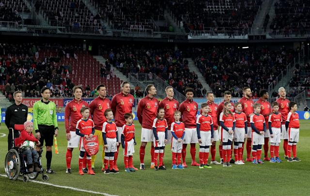 Soccer Football - International Friendly - Austria vs Slovenia - Worthersee Stadium, Klagenfurt, Austria - March 23, 2018 Austria team line up before the match REUTERS/Heinz-Peter Bader