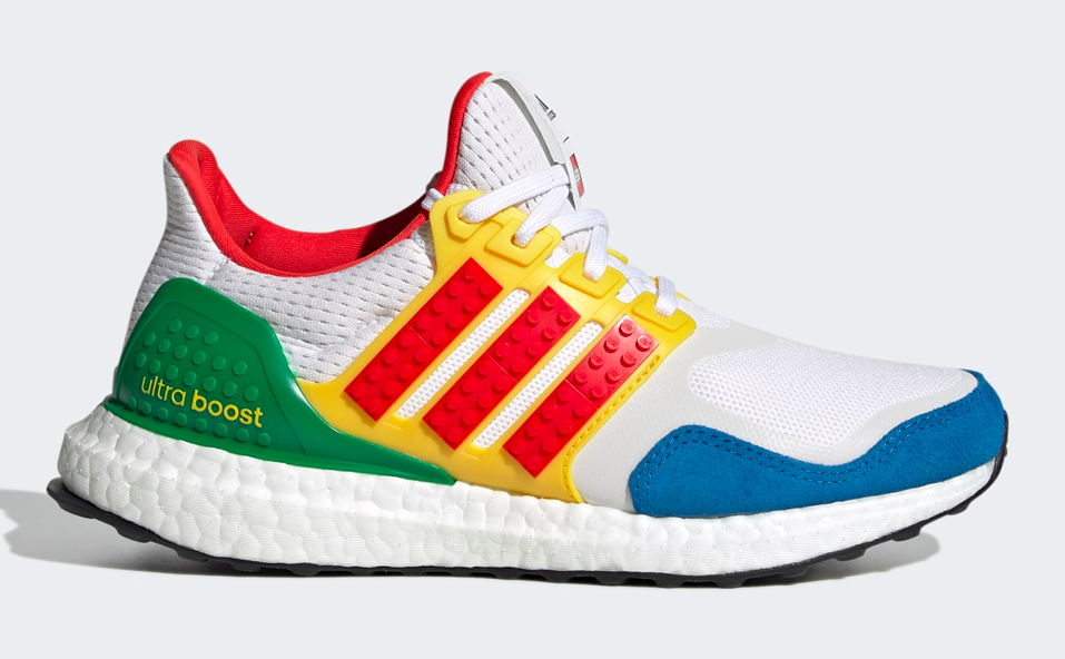 adidas Ultraboost DNA x Lego Colors shoes in Cloud White/Red/Shock Blue/Green. - Credit: Courtesy of Adidas