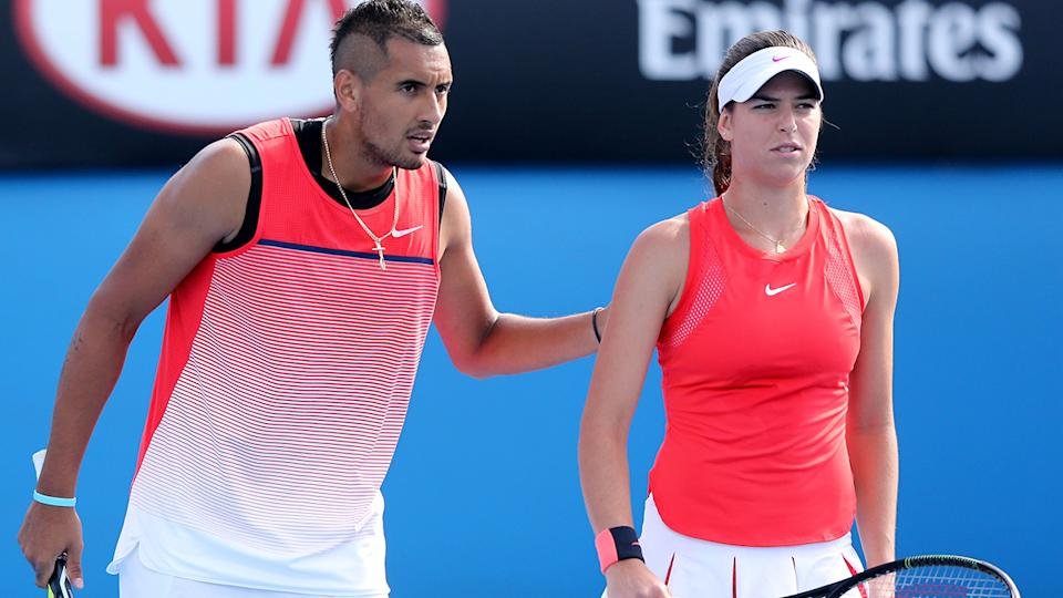 Nick Kyrgios and Ajla Tomljanovic, pictured here at the Australian Open in 2016.
