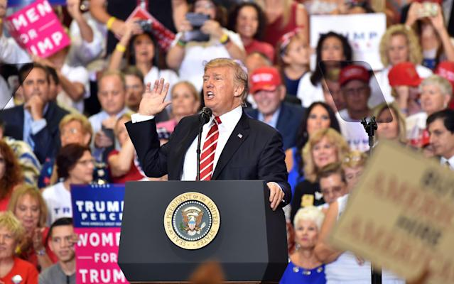 "President Trump addresses a ""Make America Great Again"" rally in Phoenix on August 22. (Photo: Nicholas Kamm/AFP/Getty Images)"