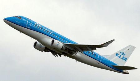 FILE PHOTO - A KLM commercial passenger jet takes off in Colomiers near Toulouse