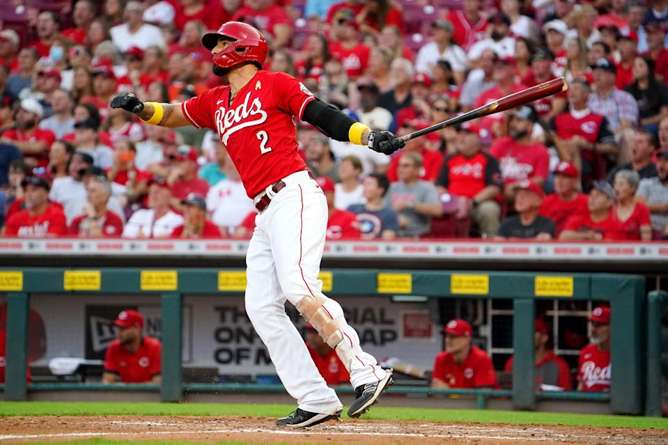 Cincinnati Reds right fielder Nick Castellanos (2) hits a grand slam home run in the second inning of a baseball game against the St. Louis Cardinals, Wednesday, Sept. 1, 2021, at Great American Ball Park in Cincinnati.