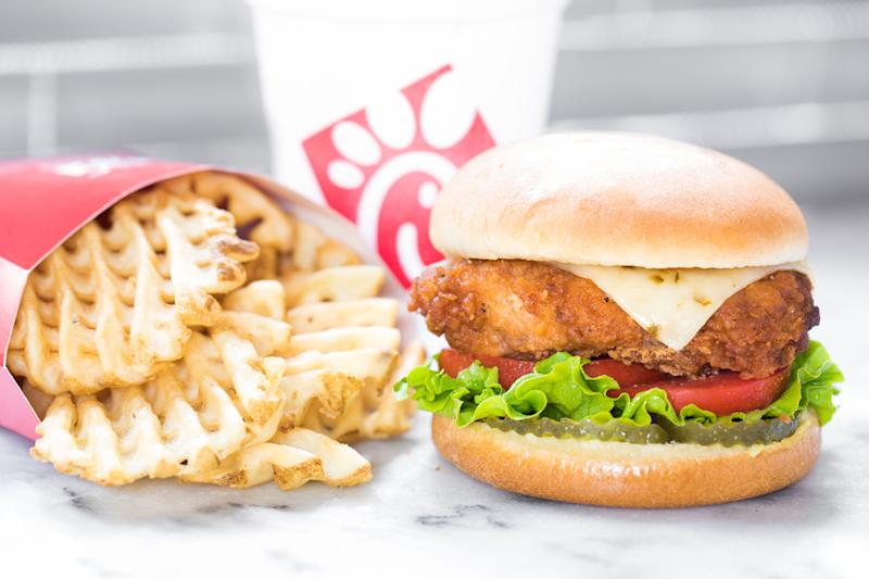 Chicken sandwich and waffle fries
