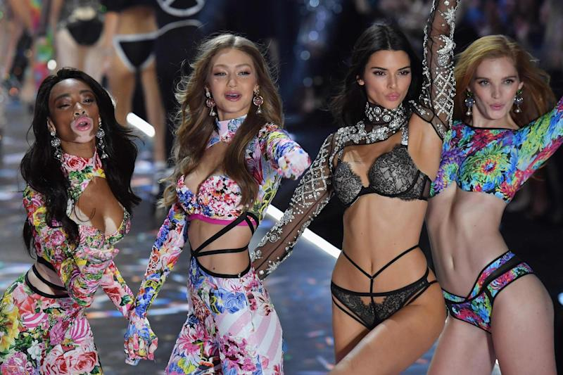 Kendall joins Winnie Harlow, Gigi Hadid and Alexina Graham on the runway: AFP/Getty Images