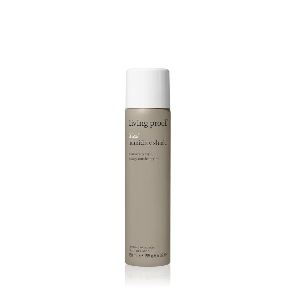 """Living Proof's No Frizz Humidity Shield has one main mission, but plenty of benefits. The finishing spray delivers flawlessly on <a href=""""https://www.allure.com/gallery/the-best-frizz-fighting-hair-products?mbid=synd_yahoo_rss"""" rel=""""nofollow noopener"""" target=""""_blank"""" data-ylk=""""slk:frizz-fighting"""" class=""""link rapid-noclick-resp"""">frizz-fighting</a>. Spritz the lightweight spray on your dry finished style — no matter the texture — and polymers in the topcoat will prevent frizz and block humidity. There are also emollients to smooth and add shine to your braids and twists. Did we mention that there are even UV filters to keep your scalp from scorching? Yeah, mission accomplished."""