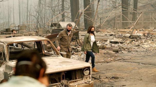 PHOTO: California Gov. Gavin Newsom and Democratic vice presidential candidate Sen. Kamala Harris, asses the damage during the Creek Fire at Pine Ridge Elementary, in Auberry, Calif., Sept. 15, 2020. (Gary Kazanjian/AP)