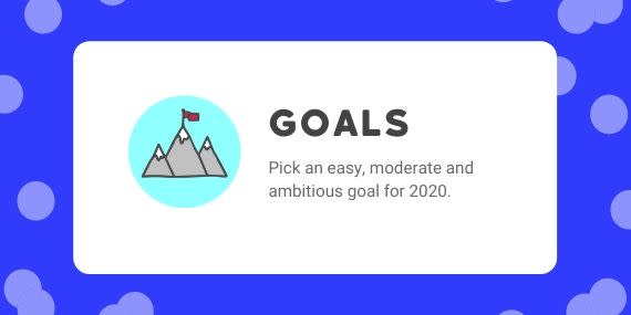 Goals - Pick and easy, moderate and ambitious goal for 2020 - cartoon of mountains with flag on top