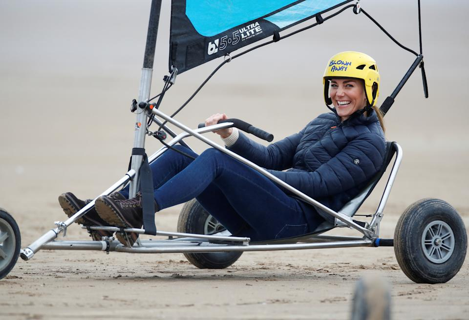 The Duchess of Cambridge land yachting on the beach at St Andrews. Picture date: Wednesday May 26, 2021.