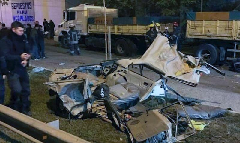 Seen here is the wreckage of a car in which four people were killed following a police pursuit in San Miguel del Monte, Argentina -- 12 police officers have been suspended over the incident