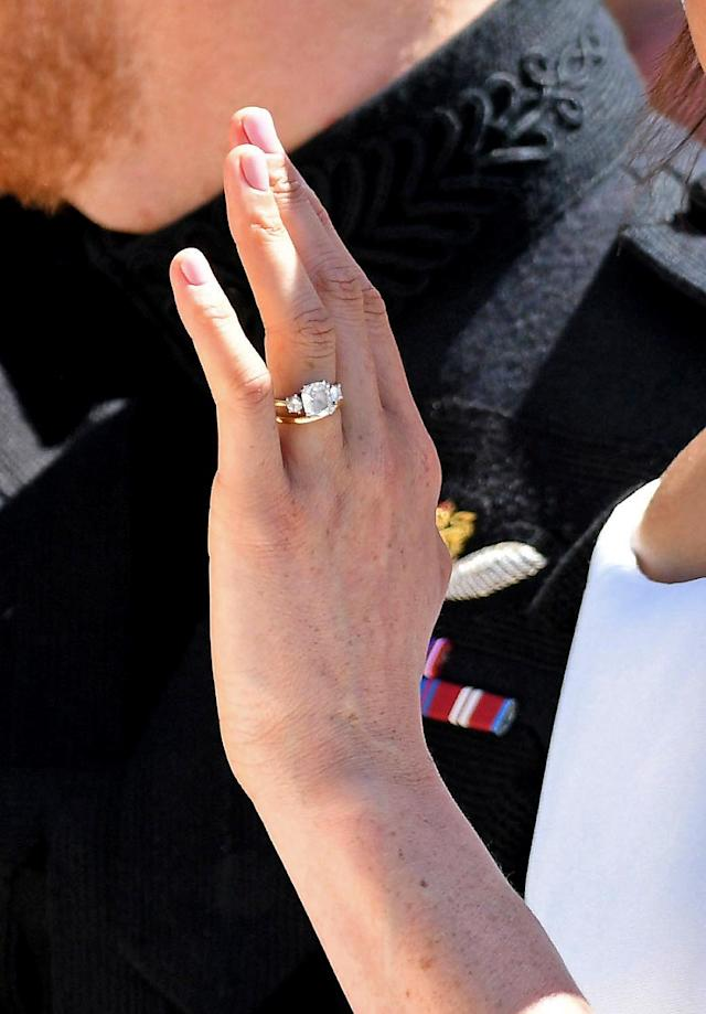 A closer look at Markle's wedding nails. (Photo: Karwai Tang/WireImage)