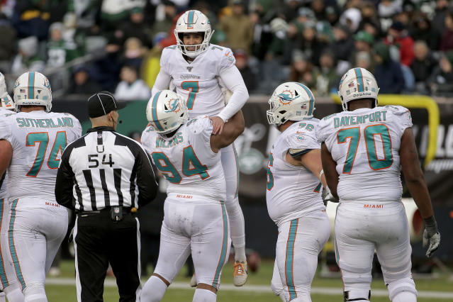 Miami Dolphins kicker Jason Sanders (7) celebrates after kicking a field goal against the New York Jets during the fourth quarter of an NFL football game, Sunday, Dec. 8, 2019, in East Rutherford, N.J. (AP Photo/Seth Wenig)