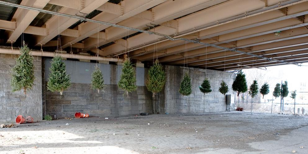 "<p>The project started in 2012, when Neff, along with his wife and a friend, set out to collect discarded trees and hang them under the Brooklyn-Queens Expressway. The unauthorized ""exhibit"" was quickly cleaned up by the city, so Neff sought a more permanent place to display his work. (Photo: <a href=""http://www.michaelneff.com/"">Michael Neff</a>)</p>"
