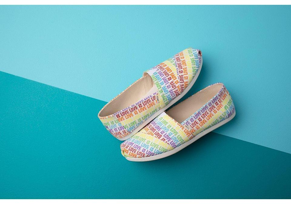 """<p><strong>Toms</strong></p><p>toms.com</p><p><strong>$59.95</strong></p><p><a href=""""https://go.redirectingat.com?id=74968X1596630&url=https%3A%2F%2Fwww.toms.com%2Fwomen%2Frainbow-stripe-womens-classics&sref=https%3A%2F%2Fwww.goodhousekeeping.com%2Fclothing%2Fg32934454%2Fpride-clothing-apparel-accessories%2F"""" rel=""""nofollow noopener"""" target=""""_blank"""" data-ylk=""""slk:Shop Now"""" class=""""link rapid-noclick-resp"""">Shop Now</a></p><p>Style meets comfort in this colorful, festive pair of Toms shoes from its <a href=""""https://go.redirectingat.com?id=74968X1596630&url=https%3A%2F%2Fwww.toms.com%2Ftoms-unity-collection&sref=https%3A%2F%2Fwww.goodhousekeeping.com%2Fclothing%2Fg32934454%2Fpride-clothing-apparel-accessories%2F"""" rel=""""nofollow noopener"""" target=""""_blank"""" data-ylk=""""slk:Unity Collection"""" class=""""link rapid-noclick-resp"""">Unity Collection</a> for Pride. The best part? The brand supports the LGBTQ community year-round, donating a third of net profits to their giving partners, including the<strong> <a href=""""https://lalgbtcenter.org/"""" rel=""""nofollow noopener"""" target=""""_blank"""" data-ylk=""""slk:Los Angeles LGBT Center"""" class=""""link rapid-noclick-resp"""">Los Angeles LGBT Center</a></strong> and <strong><a href=""""https://www.hki.org/"""" rel=""""nofollow noopener"""" target=""""_blank"""" data-ylk=""""slk:Helen Keller International"""" class=""""link rapid-noclick-resp"""">Helen Keller International</a></strong>.</p>"""