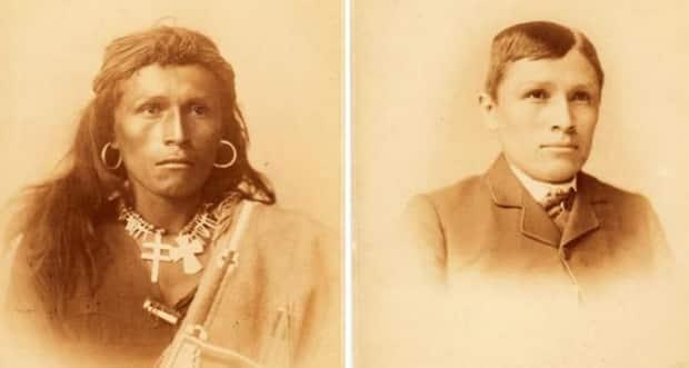 Navajo boy Tom Torlino, left, is shown when he entered the Carlisle Indian Industrial School in Pennsylvania in 1882. On the right is a photo of him as he appeared three years later. The U.S. cabinet minister who leads the federal department that ran U.S. assimilation schools has launched an investigation into their legacy. (U.S. Library of Congress  - image credit)
