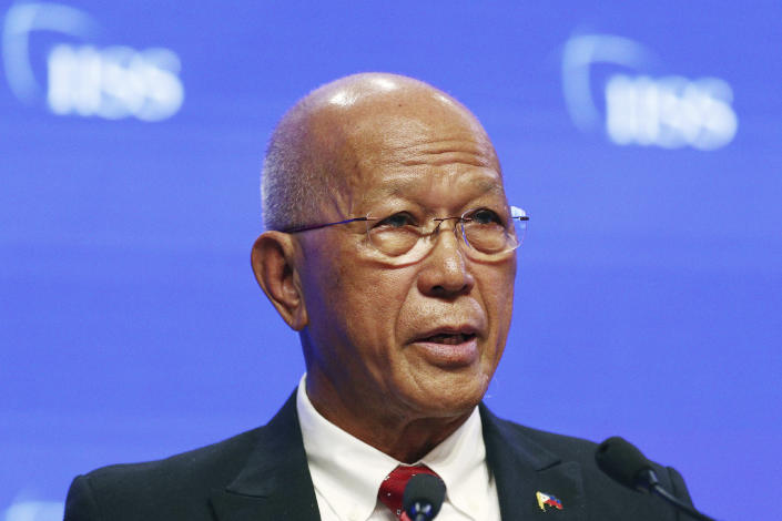 FILE - In this June 2, 2019, file photo, Philippine Secretary of National Defense Delfin Lorenzana speaks during the fifth plenary session of the 18th International Institute for Strategic Studies (IISS) Shangri-la Dialogue, an annual defense and security forum in Asia, in Singapore. Lorenzana rejected China's demand that the Philippines end its patrols in the disputed region. (AP Photo/Yong Teck Lim, File)