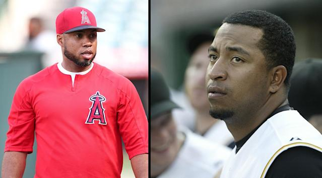 """Luis Valbuena, left, and <a class=""""link rapid-noclick-resp"""" href=""""/mlb/players/11032/"""" data-ylk=""""slk:Jose Castillo"""">Jose Castillo</a> have reportedly died in a car accident in Venezuela. (Getty Images)"""