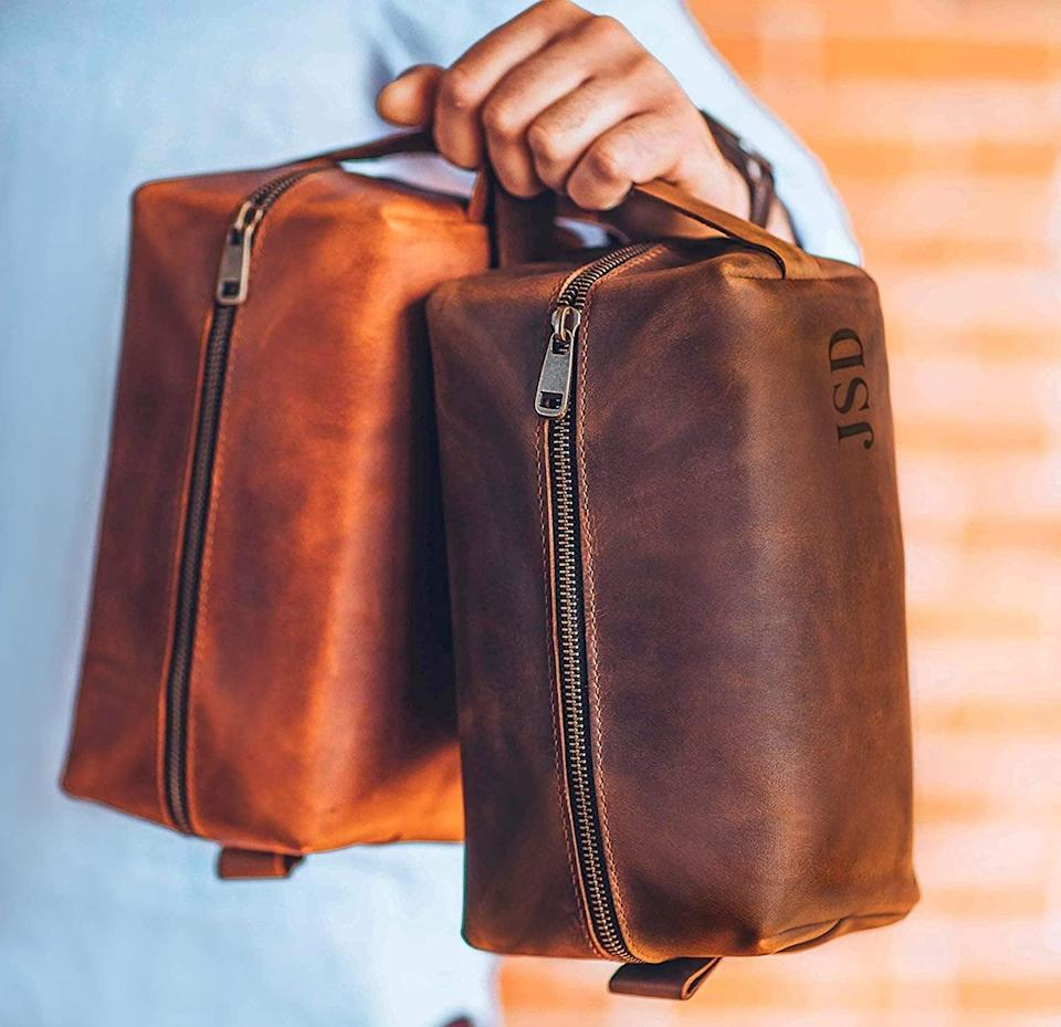 <p>Make their life easier by keeping their toiletries and other necessities organized in this handcrafted <span>Personalized Leather Dopp Kit</span> ($30). The monogrammed piece comes in three colors including, brown, light brown, and black.</p>