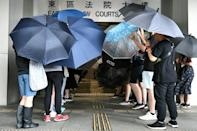 Protesters covered themselves with umbrellas as they gathered outside the Eastern District Courts in Hong Kong
