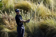 Brandon Hagy hits from the 18th tee during the first round of The American Express golf tournament on the Nicklaus Tournament Course at PGA West, Thursday, Jan. 21, 2021, in La Quinta, Calif. (AP Photo/Marcio Jose Sanchez)