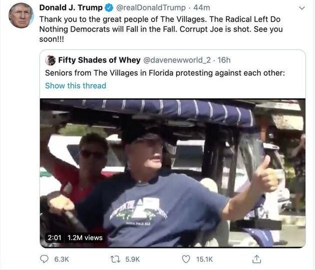 President Donald Trump shared a video from an anonymous Twitter user depicting one of his supporters shouting