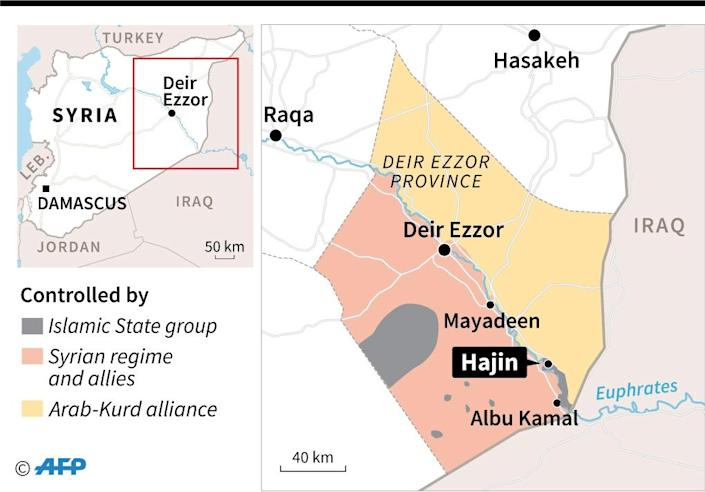 Map showing territorial control in East Syria as of November 26 (AFP Photo/)