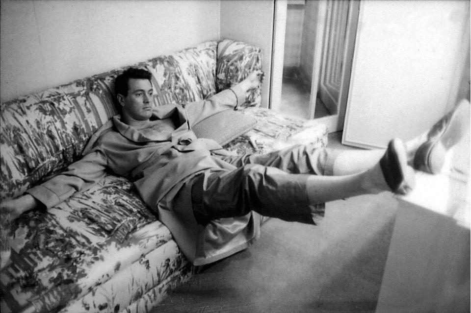 <p>Hudson was photographed relaxing on his couch. </p>