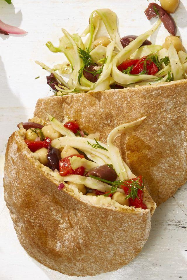 "<p>Pack the veggie filling, hummus, and pita breads separately so the bread doesn't get soggy. You can build your picnic sandwich on-site.</p><p><em><a href=""https://www.goodhousekeeping.com/food-recipes/a21731437/veggie-nicoise-pitas-recipe/"" rel=""nofollow noopener"" target=""_blank"" data-ylk=""slk:Get the recipe for Veggie Niçoise Pitas »"" class=""link rapid-noclick-resp""><em>Get the recipe for </em>Veggie Niçoise Pitas »</a></em></p>"